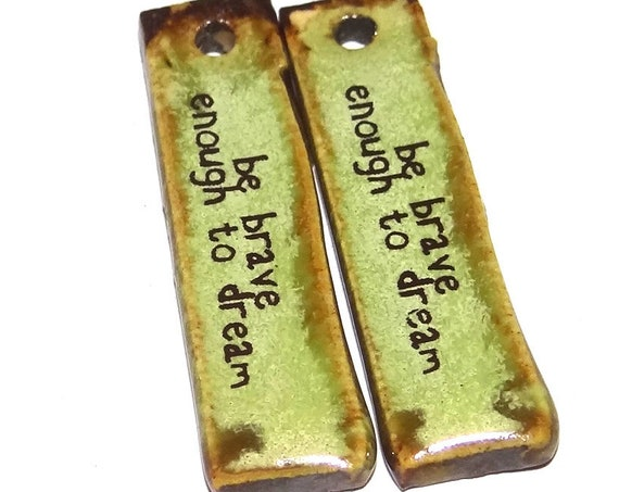 Ceramic Quote Connector Charms Pair Porcelain
