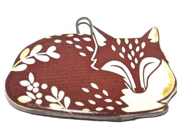 Ceramic Fox Pendant Component Porcelain Handmade Pottery Wildlife