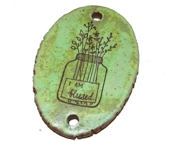 Ceramic Flower Vase Blessings Pendant Word Handmade Focal  Improvement Inspirational Motivational