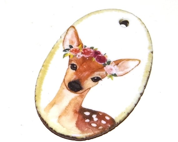 Ceramic Deer Fawn Pendant Handmade Focal Nature Wildlife Animals