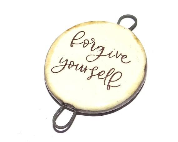 Ceramic Quote Pendant Handmade Focal