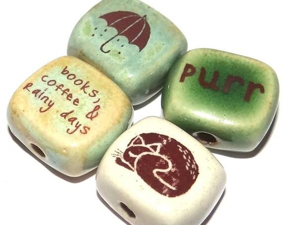 Ceramic Quote Bead Set Cube Beads Handmade Beads Cat