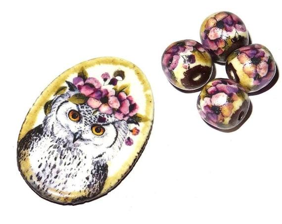Ceramic Owl Pendant & Beads Set Handmade Porcelain Floral Flowers Lilac Purple