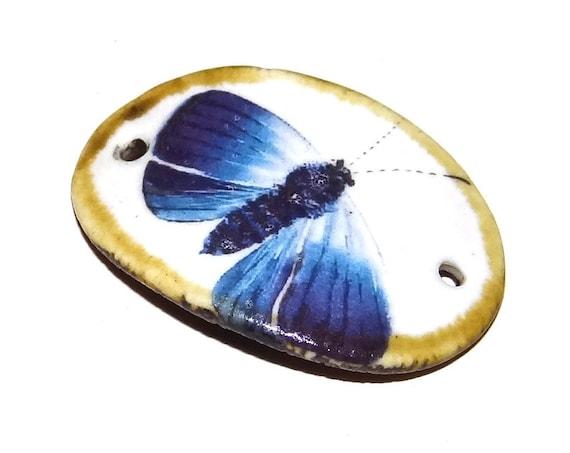 Ceramic Bracelet Bar Cuff Handmade Porcelain Butterfly Blue Moth Nature Rustic