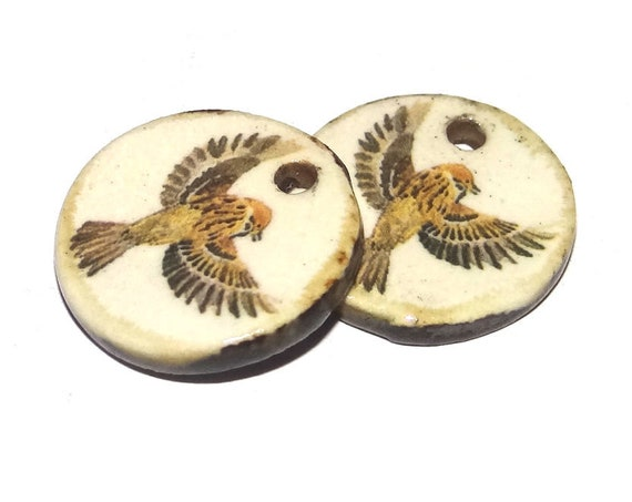Ceramic Sparrow Charms Pair Porcelain
