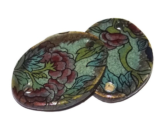 Ceramic Floral Oval Charms Pair Porcelain