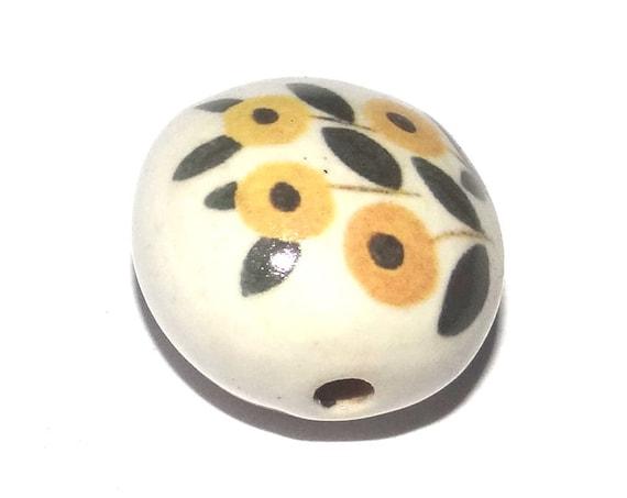 Ceramic Floral Bead Porcelain Handmade
