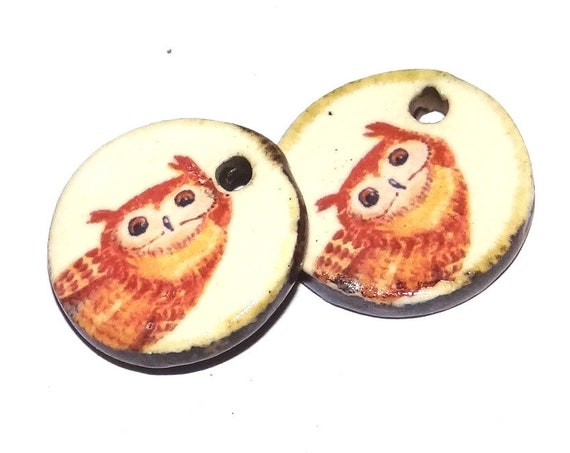 Ceramic Owl Charms Pair Porcelain Handmade