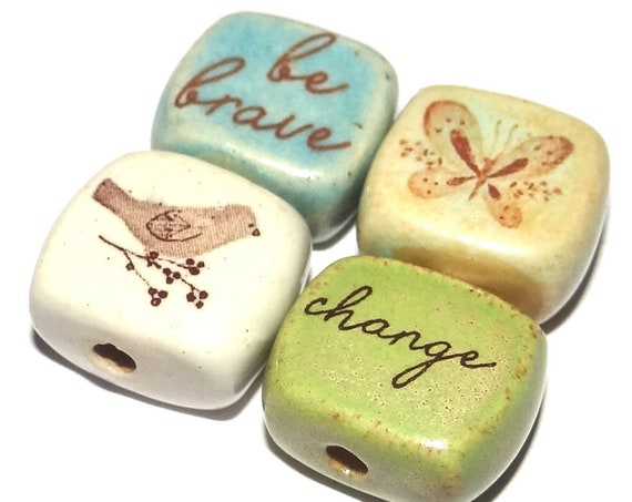 Ceramic Quote Bead Set Cube Beads Handmade Beads Bird Butterfly