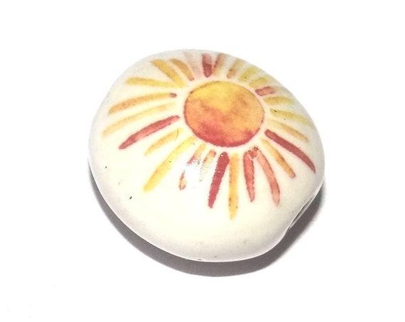 Ceramic Sun Sunshine Bead Porcelain Handmade
