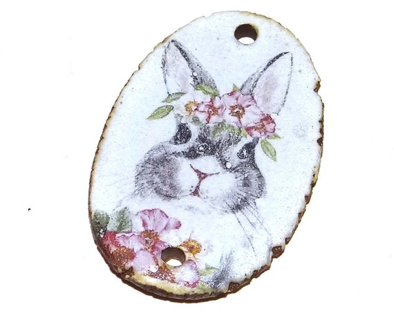 Ceramic Rabbit Pendant Word Handmade Focal Easter Rustic Bunny