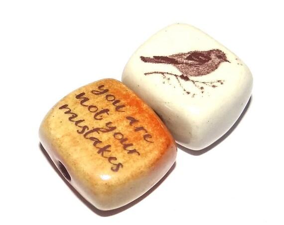 Ceramic Bird Bead Quote Set Pair Inspirational Nature