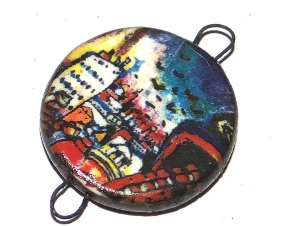 Ceramic Kandinsky Connector Handmade Pendant Porcelain Nature Moscow