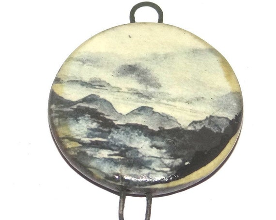 Ceramic Ocean Pendant Handmade Focal Porcelain