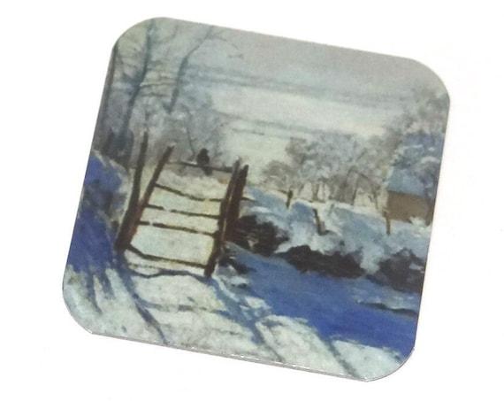 "Metal Monet Magpie Snow Charm Pendant Handmade 25mm 1"" Square MSQ4-3"