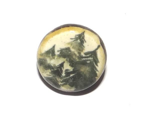 1 Ceramic Tree Forest Shank Button Handmade Porcelain