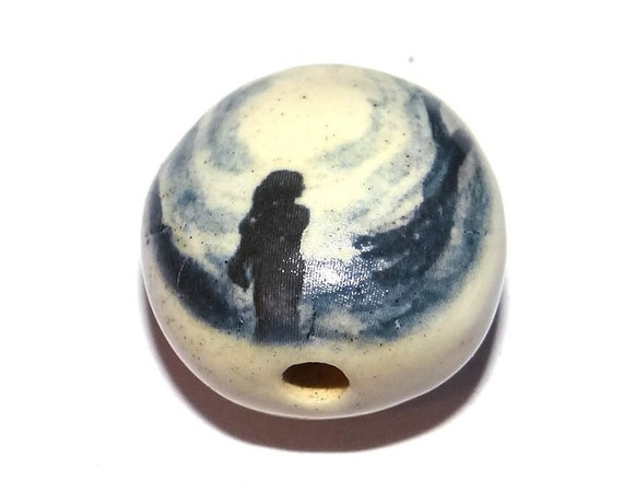 "Ceramic Mother Earth Bead Porcelain Handmade 18mm 0.7"" CFB4-3"