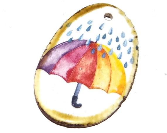 Ceramic Rainbow Rain Umbrella Pendant Handmade Focal