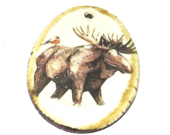 Ceramic Moose Pendant Porcelain Handmade Focal Animal Beads