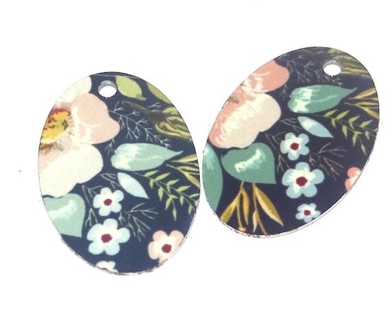 "Metal Floral Earring Charms Handmade 25mm 1"" MC2-4"