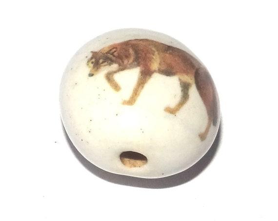 Ceramic Wolf Bead Porcelain Handmade