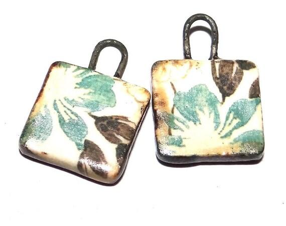 "Ceramic Floral Charms Beads Pair Porcelain 15mm 0.6"" CC1-4"