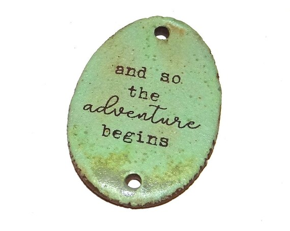 Ceramic Quote Pendant Word Handmade Focal Inspirational Motivational Adventure Begins