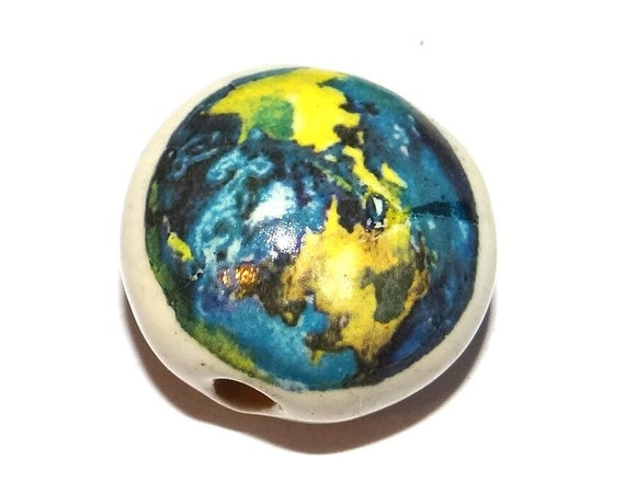 "Ceramic Earth Bead Porcelain Handmade 18mm 0.7"" CFB4-3"