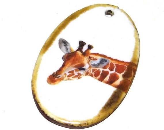 Ceramic Giraffe Pendant Word Handmade Focal African Wildlife Nature