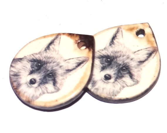 Ceramic Fox Charms Pair Porcelain Handmade