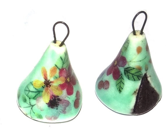 1 Ceramic Earring Charm Pendant Stoneware Pottery Tent Teepee