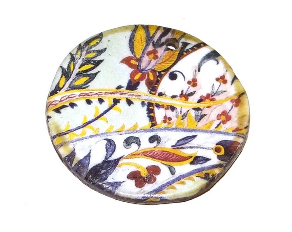 Ceramic Paisley Pendant Handmade Focal Rustic
