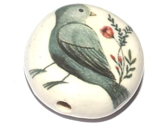 Ceramic Bird Focal Bead Handmade Pottery Beads