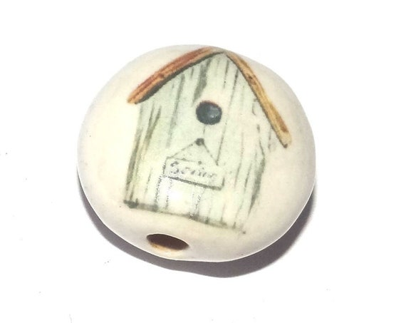 Ceramic Bird House Bead Porcelain Handmade