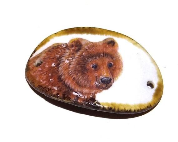 Ceramic Bear Bracelet Bar Handmade Cuff Porcelain Rustic Wildlife Grizzly Animal
