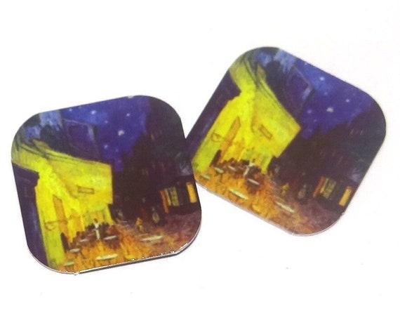 "Metal Van Gogh Earring Charms Handmade 16mm 5/8""  MC1-3"
