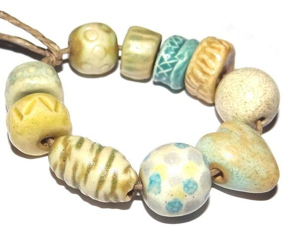 Ceramic Textured Bead Set Stoneware Handmade Pottery Beads Rustic