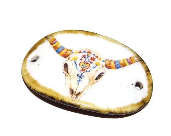 Ceramic Bracelet Bar Cuff Floral Handmade Porcelain Skull Boho