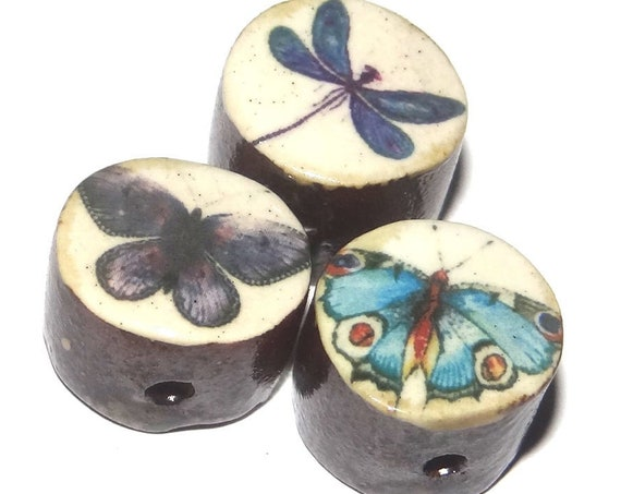 Ceramic Butterfly Dragonfly Animal Bead Set Porcelain Handmade Rustic