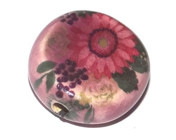 Ceramic Flower Focal Bead Handmade Pottery Beads