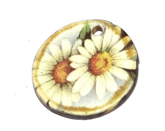 Ceramic Daisy Pendant Handmade Pottery