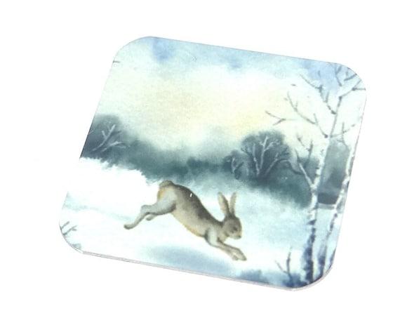 "Metal Hare Winter Snow Scene Charm Pendant Handmade 25mm 1"" Square"