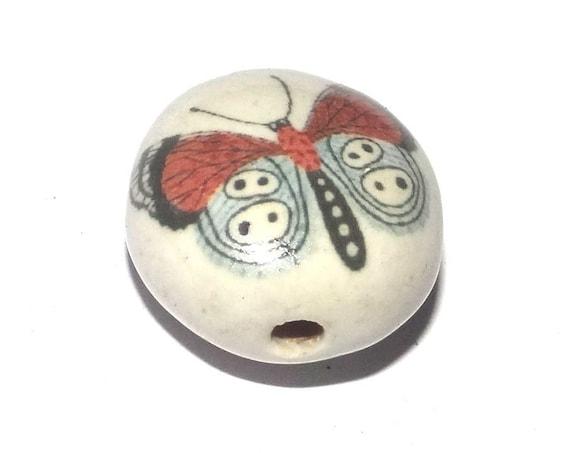 Ceramic Butterfly Bead Porcelain Handmade