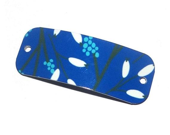 Metal Floral Bracelet Bar Handmade Cuff Flower Cobalt Blue