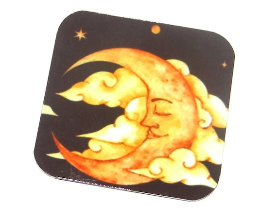 "Metal Man In The Moon Charm Pendant Handmade 25mm 1"" Square MSQ4-3"