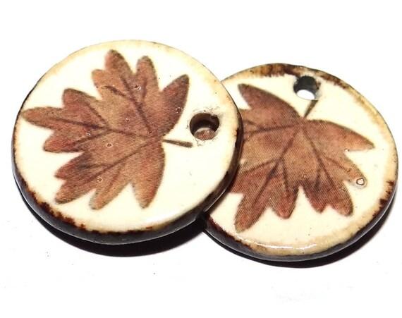 "Ceramic Leaf Earring Charms Pair Beads Handmade Rustic 18mm/0.7"" CC3-2"