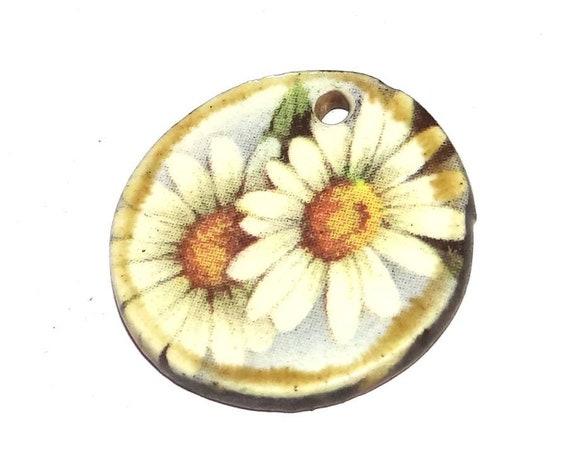 Ceramic Daisy Pendant Handmade Focal Rustic