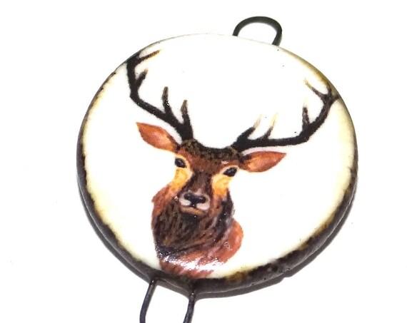 Ceramic Stag Deer Pendant Charm Connector Handmade Porcelain Wildlife