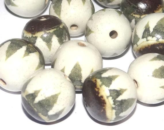1 Large Ceramic Tree Bead Porcelain