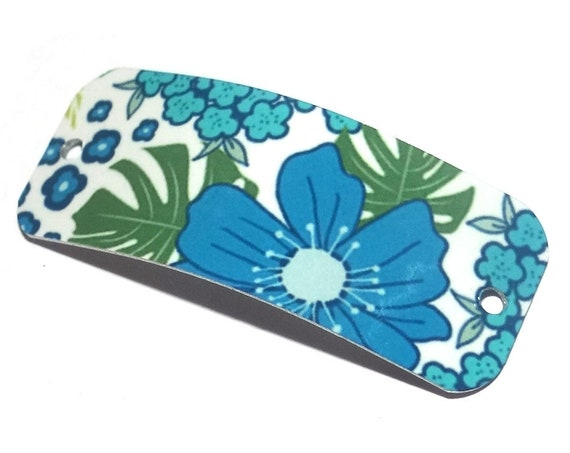 "Metal Bracelet Bar Cuff Handmade Flowers Floral 40mm 1.6"" MBB3-3"